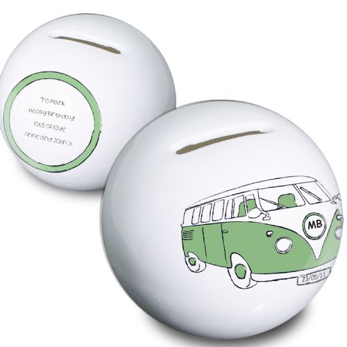 Personalised Green Camper Van Money Box